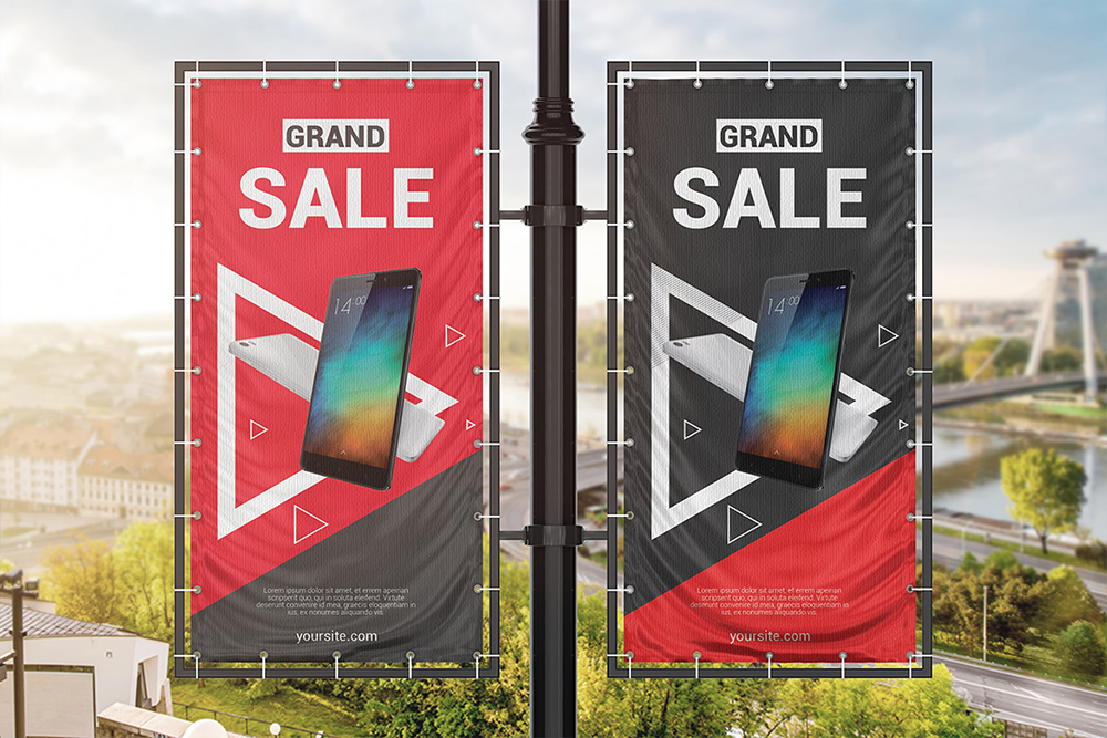 Vertical Outdoor Advertising Banner Mockup example image 5