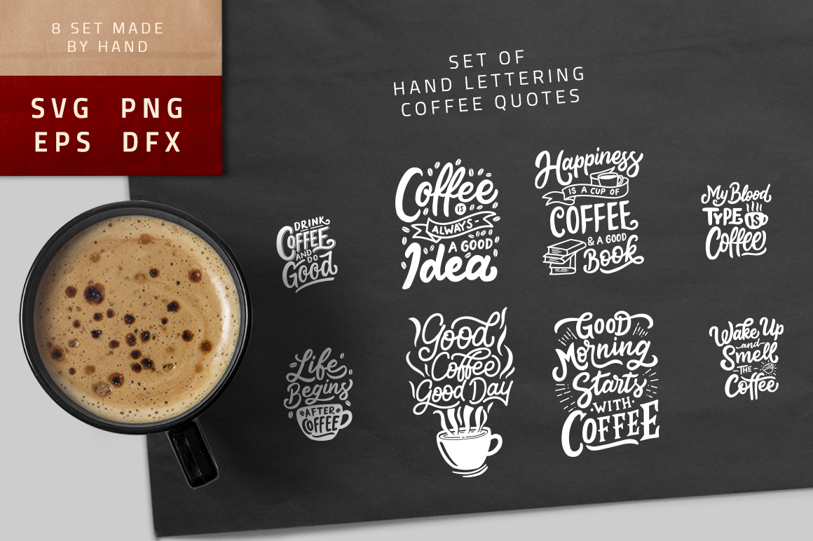 Set of Hand Lettering Coffee Quotes - SVG Cut File Bundle example image 1