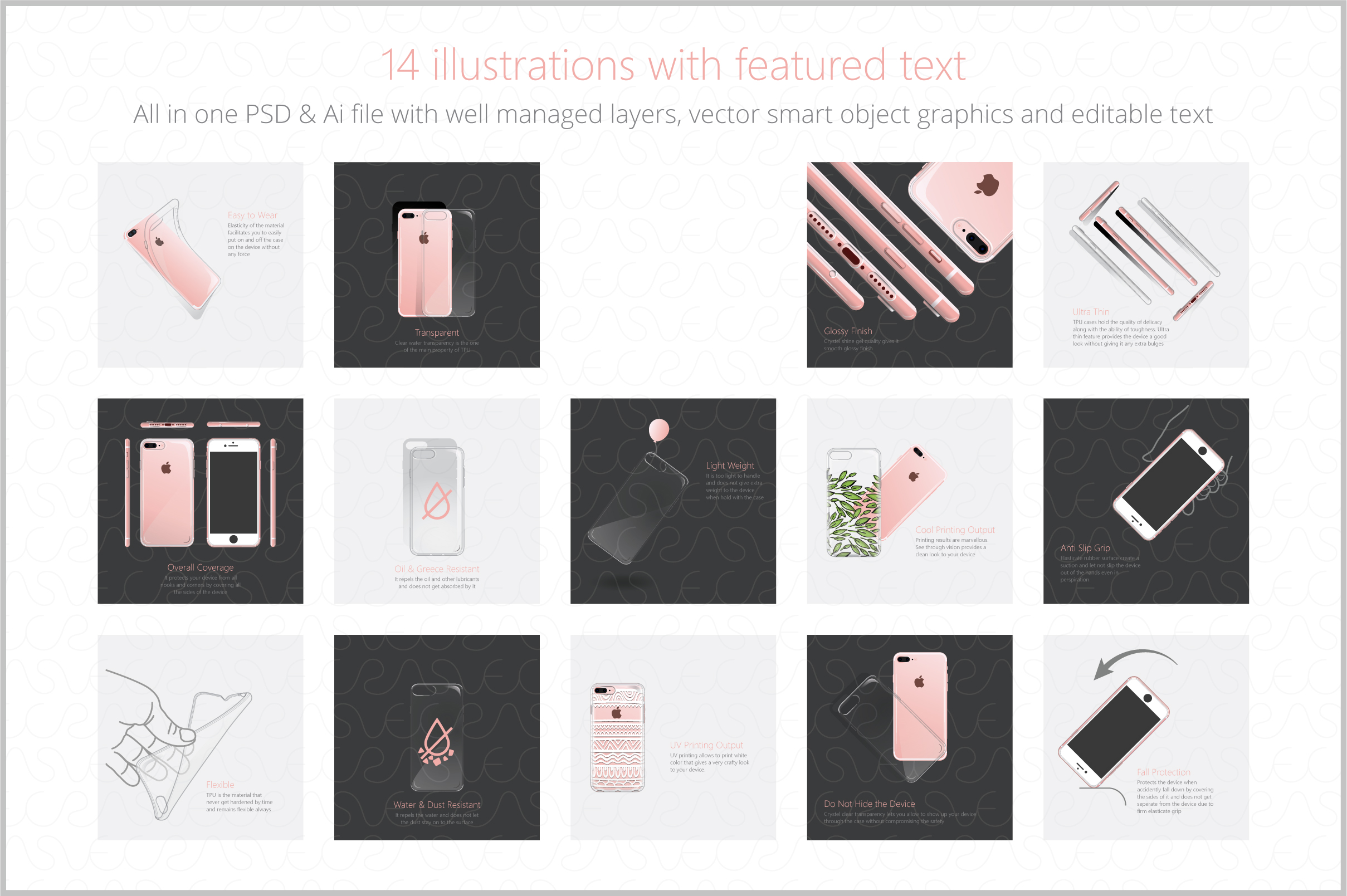 UV Printed TPU Clear Phone Case Feature Illustrations Pack-1 example image 2