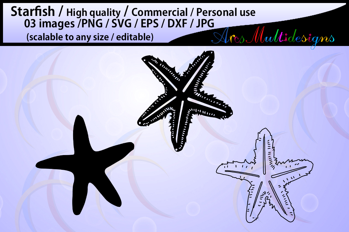 Starfish silhouette / starfish outline / starfish line art / starfish / SVG / EPs / DXf / JPG / Png / vector / commerical use / sea stars example image 1