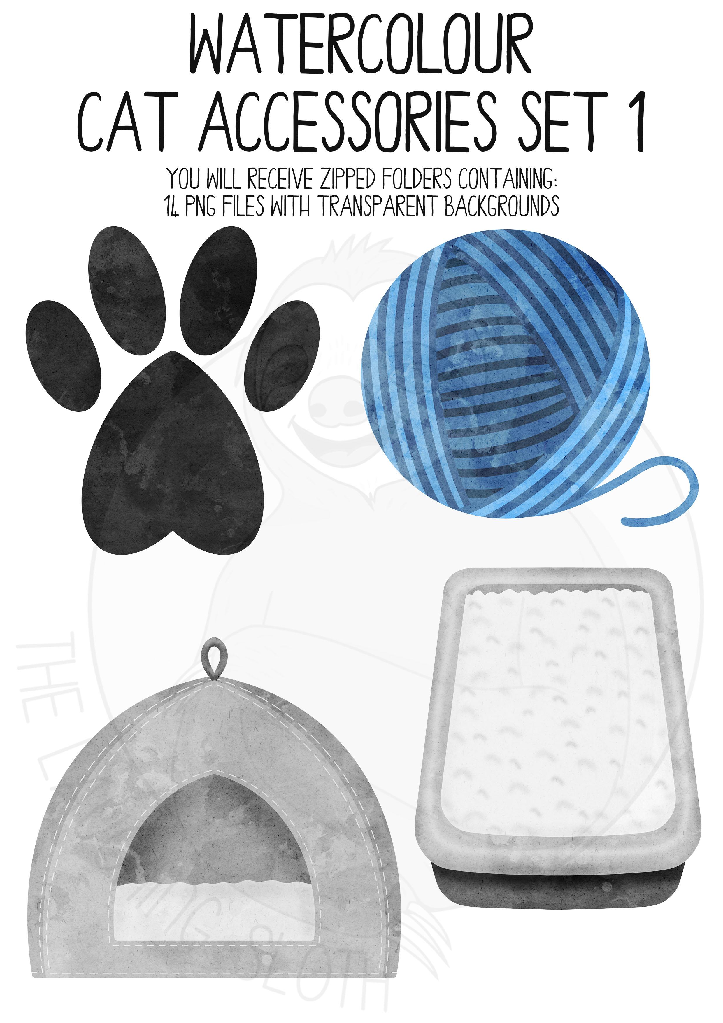 Watercolor Cat AccessoriesClipart Set example image 2
