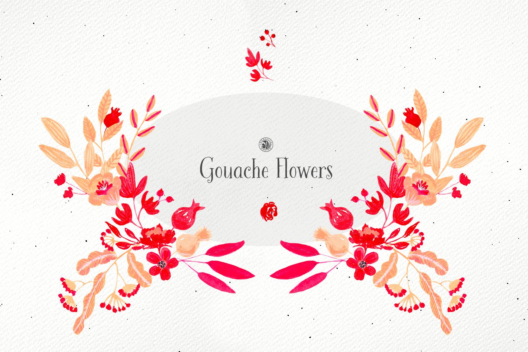 Gouache Flowers example image 4