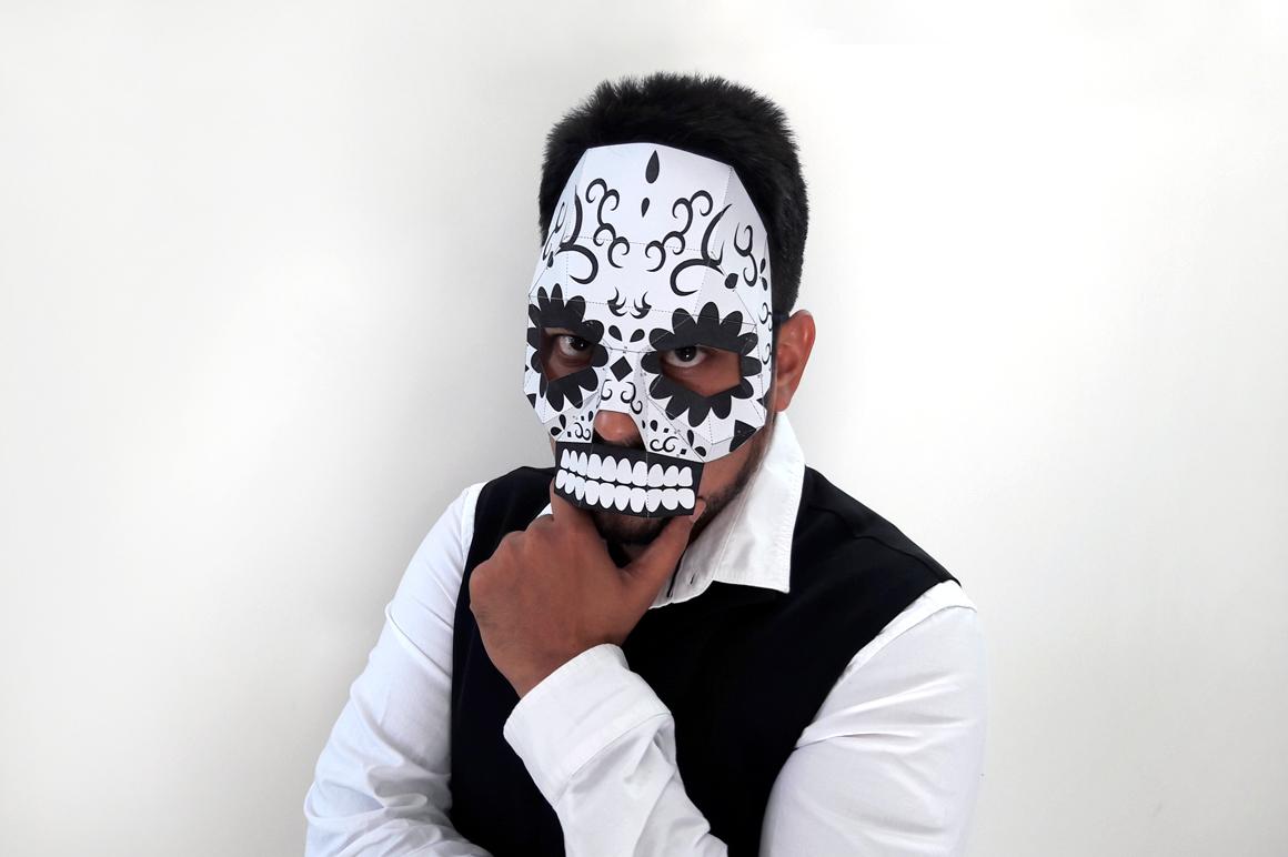 DIY Sugar Skull - 3d papercraft example image 2