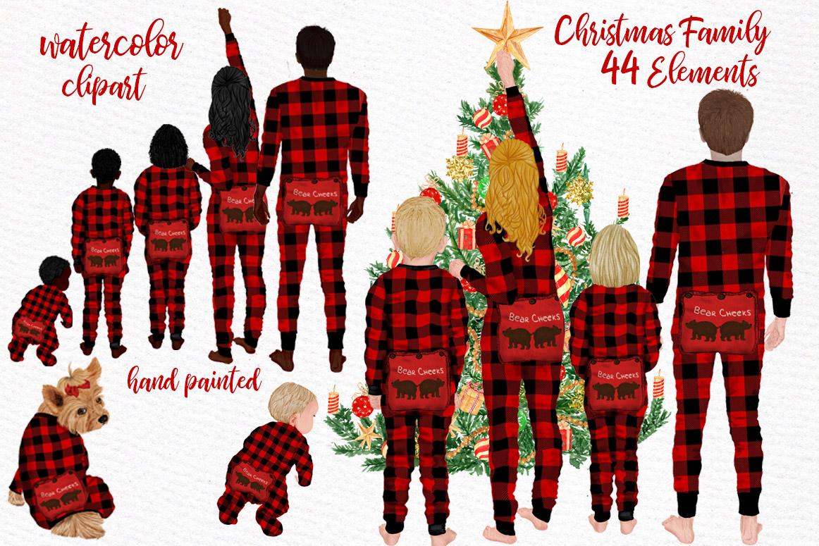 Watercolor Christmas Family Clipart, Christmas cards designs example image 1