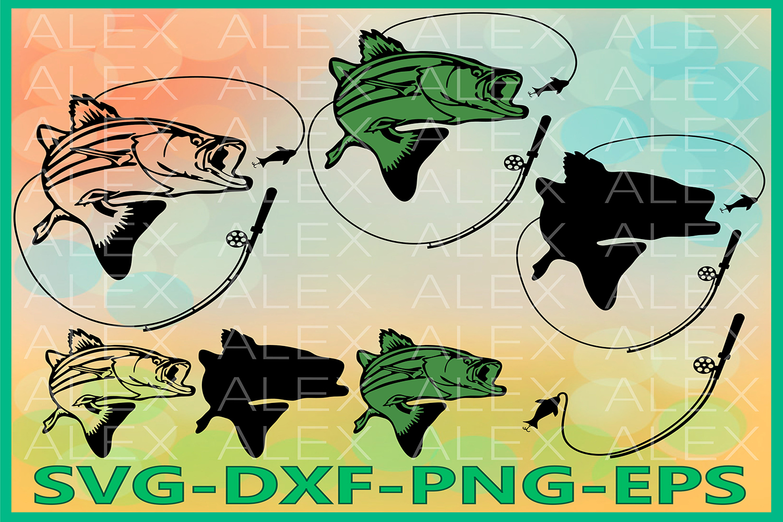 Fishing Silhouettes SVG Files, Fishing Svg, Bass fishing Svg example image 1