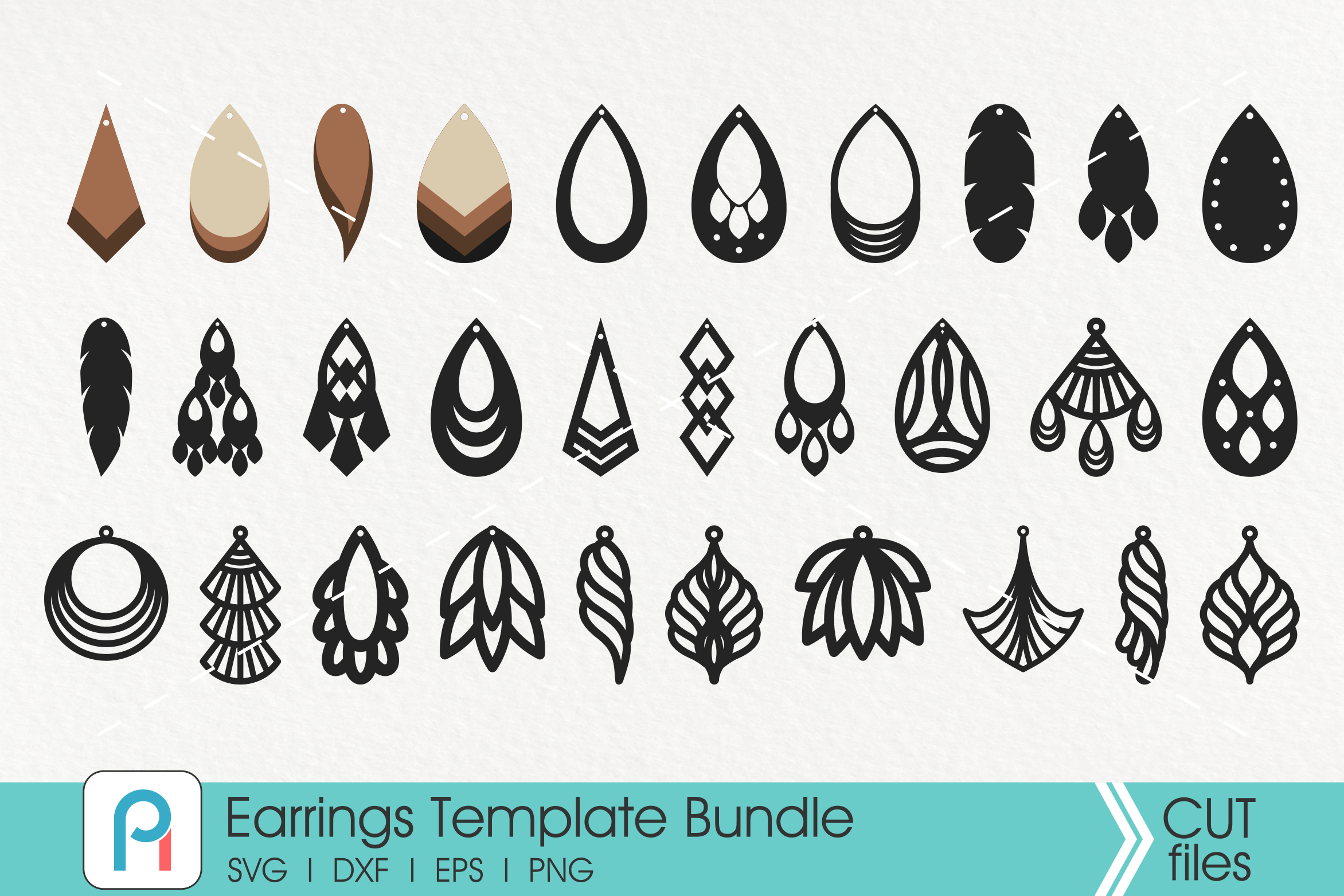 Earrings Svg, Faux Leather Earrings Svg, Earrings Templates example image 1