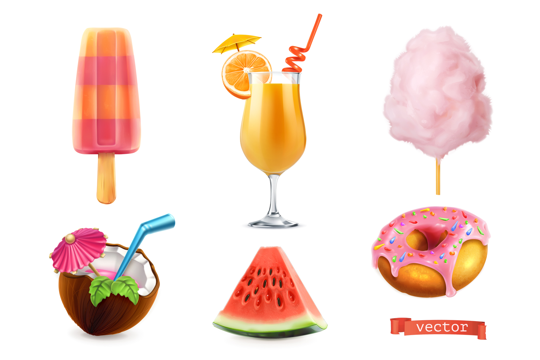 Orange juice, pink doughnut, coconut, cocktail, cotton candy example image 1