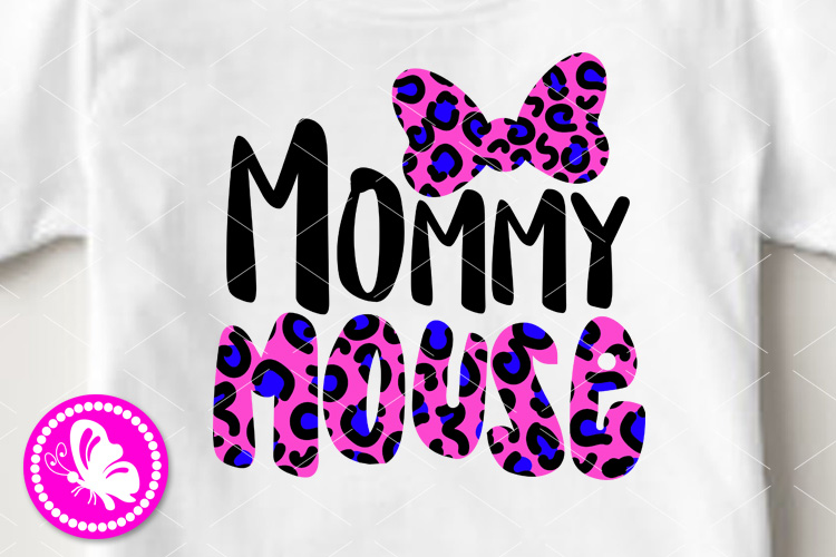 Mommy mouse svg Leopard print bow clip art Family shirt example image 1