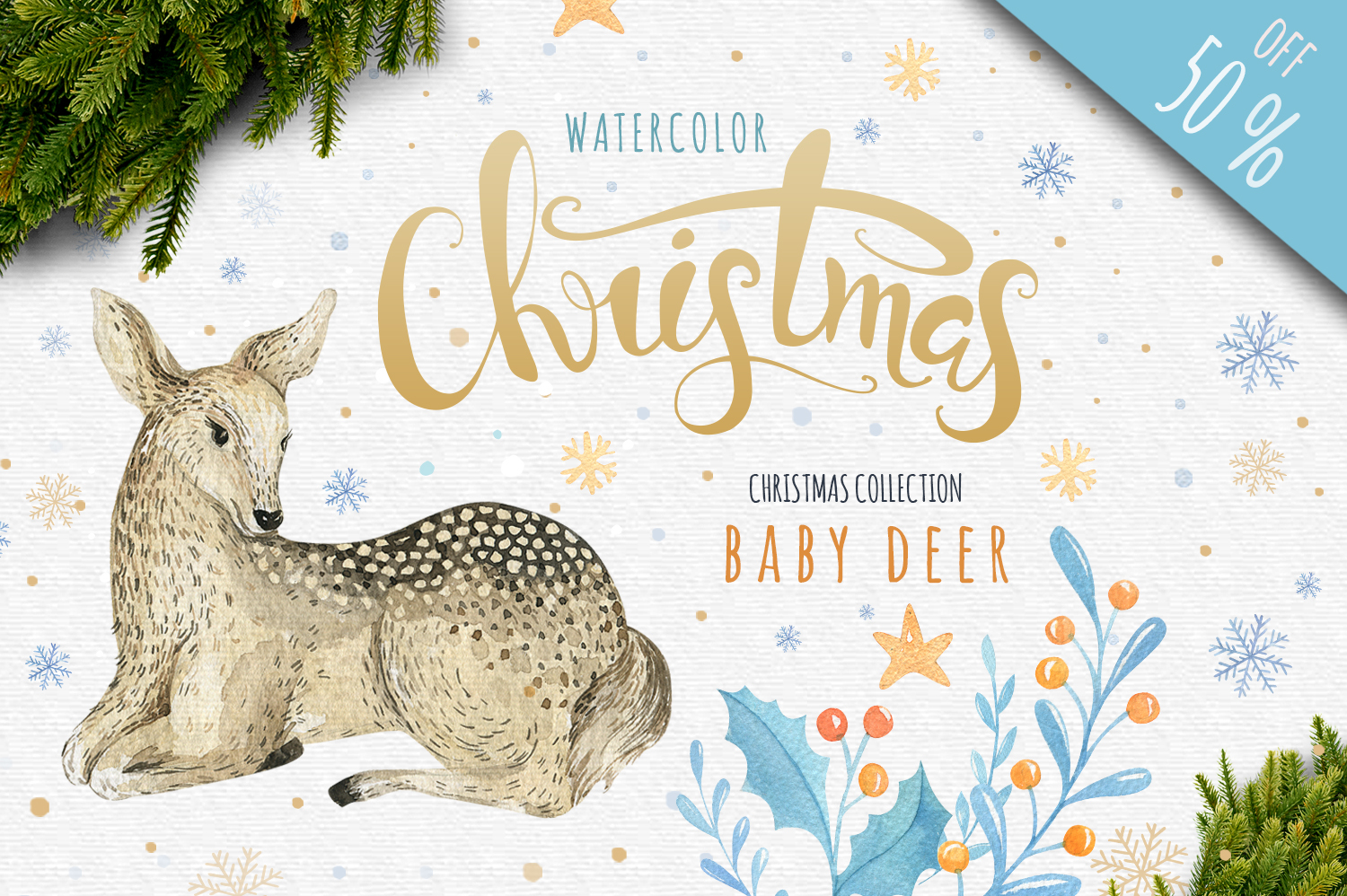 60off Watercolour Christmas BUNDLE! example image 4
