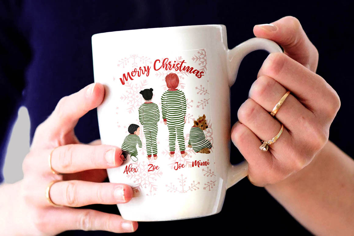 Christmas family clipart, Matching pajamas, Christmas Tree example image 3