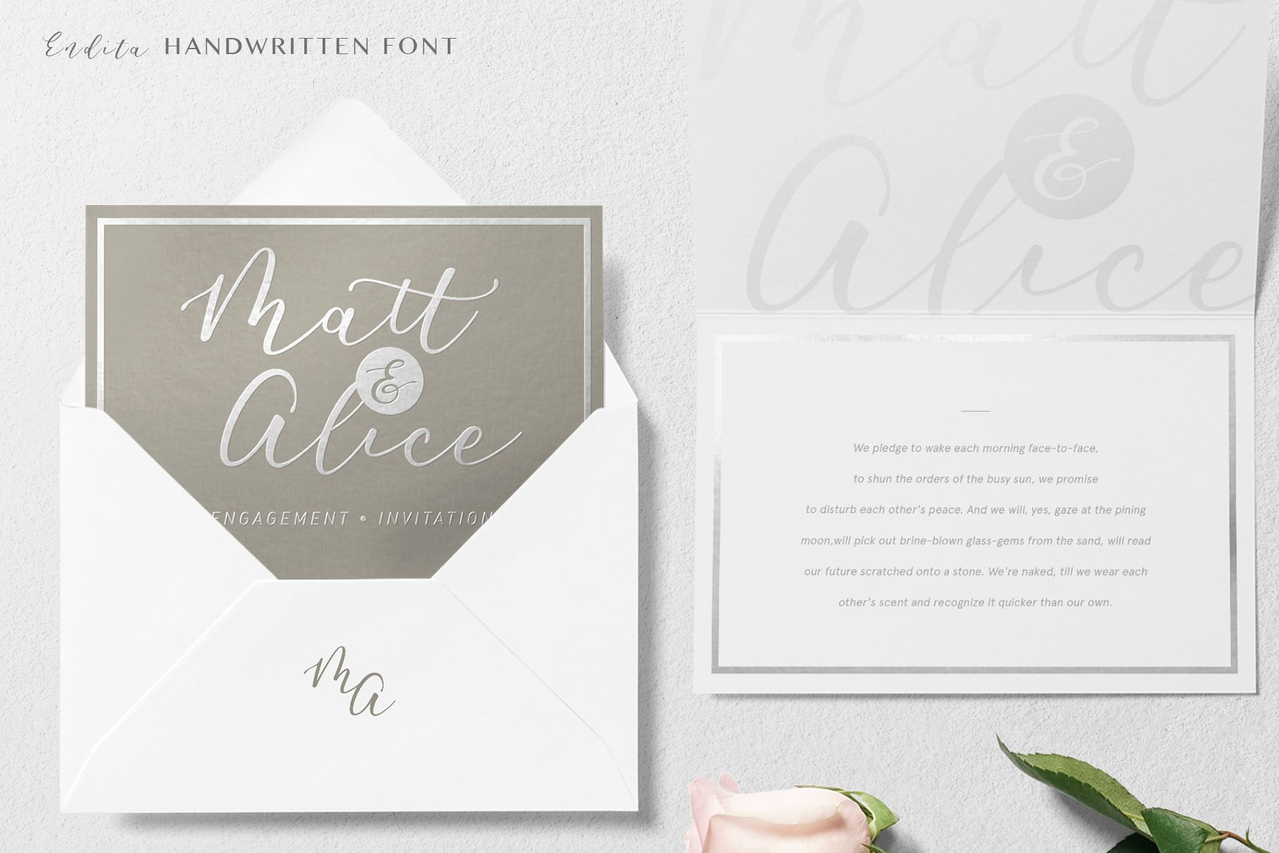 Endita Handwritten Font and Extras example image 2
