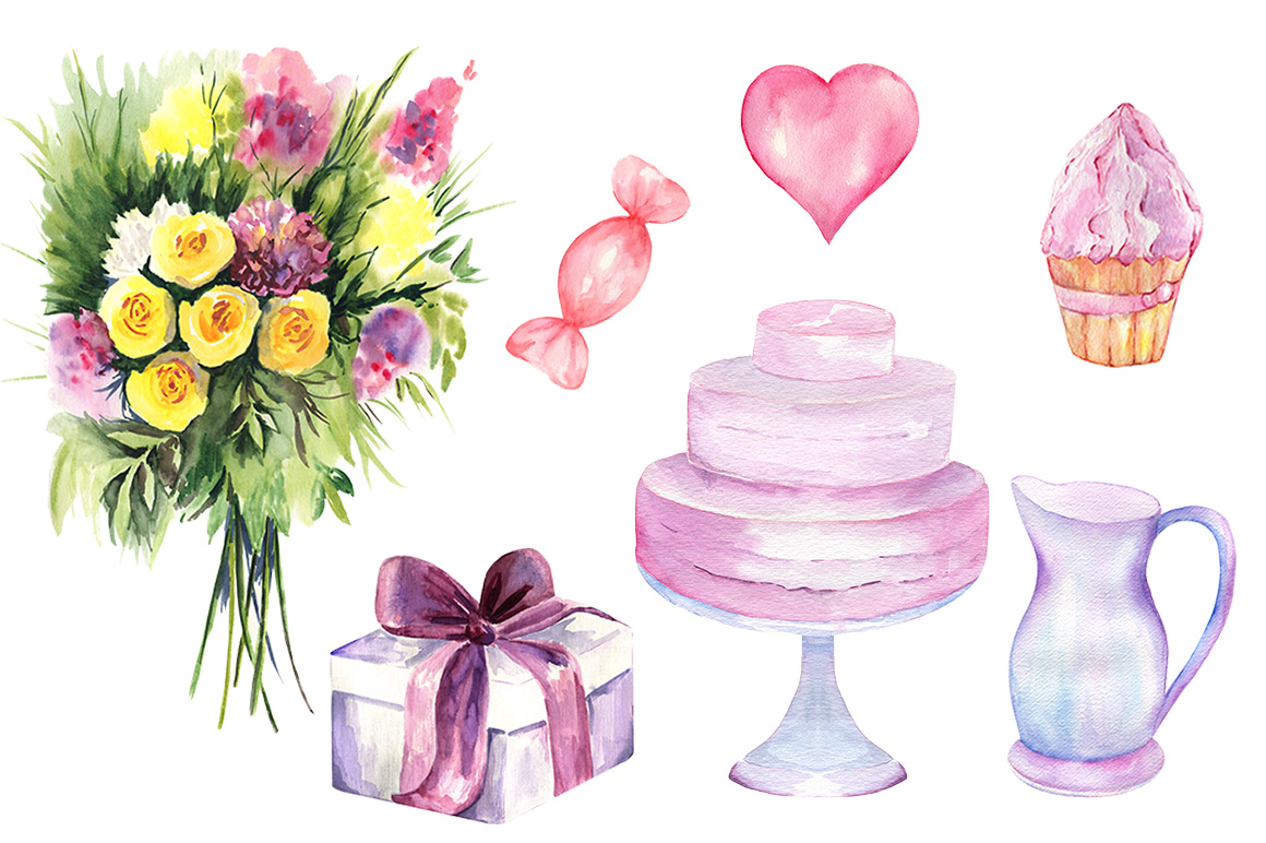 Watercolor Valentine's Day Set example image 2