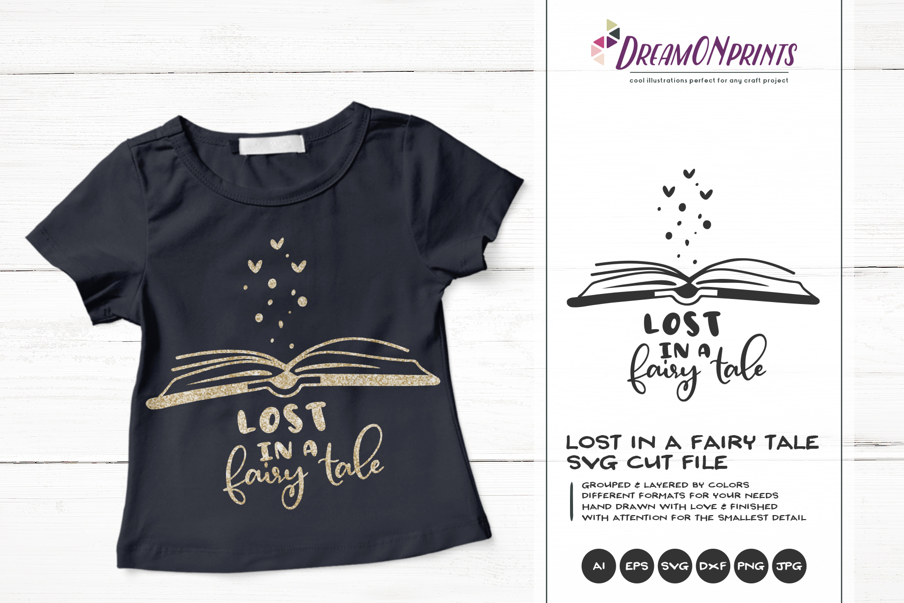 Lost in a Fairy Tale| Reading SVG | Book Lover SVG example image 1