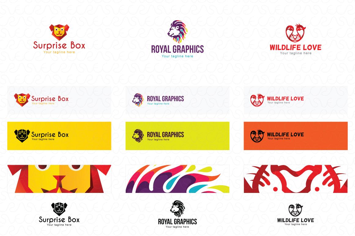 Lion Jaguar Tiger Animal Logo Templates Pack of 10 example image 3