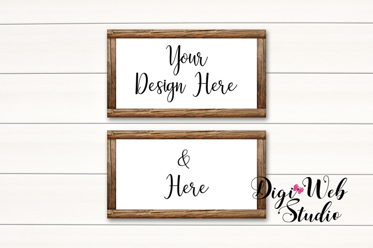Wood Signs Mockup Bundle - 10 Wood Frames on White Shiplap example image 9