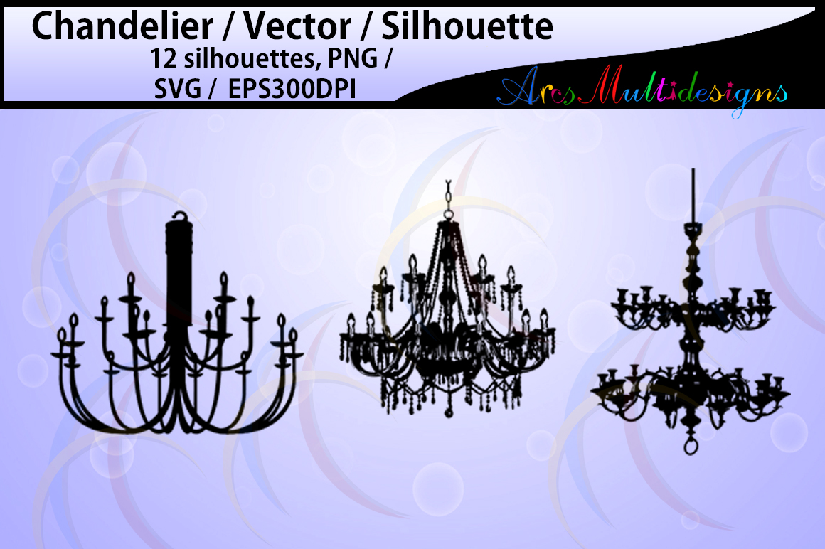 chandelier Silhouette / chandelier SVG files / High Quality / digital clipart / chandelier / chandelier clipart / chandelier EPS / PNG example image 2