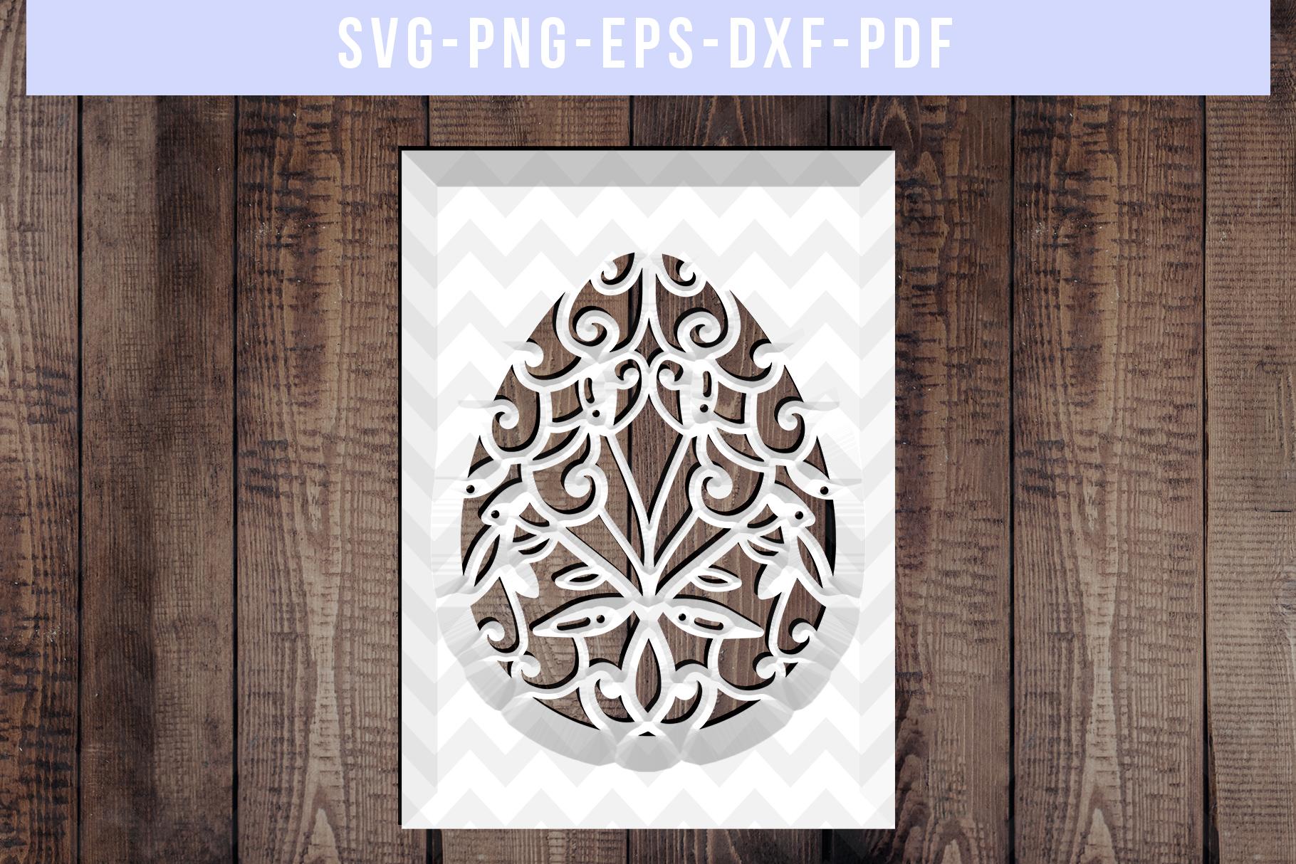 Easter Egg Frame Papercut Template, Metal Decor, SVG, PDF example image 3