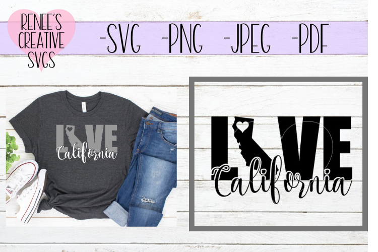 California Love   State SVG   SVG Cutting File example image 1