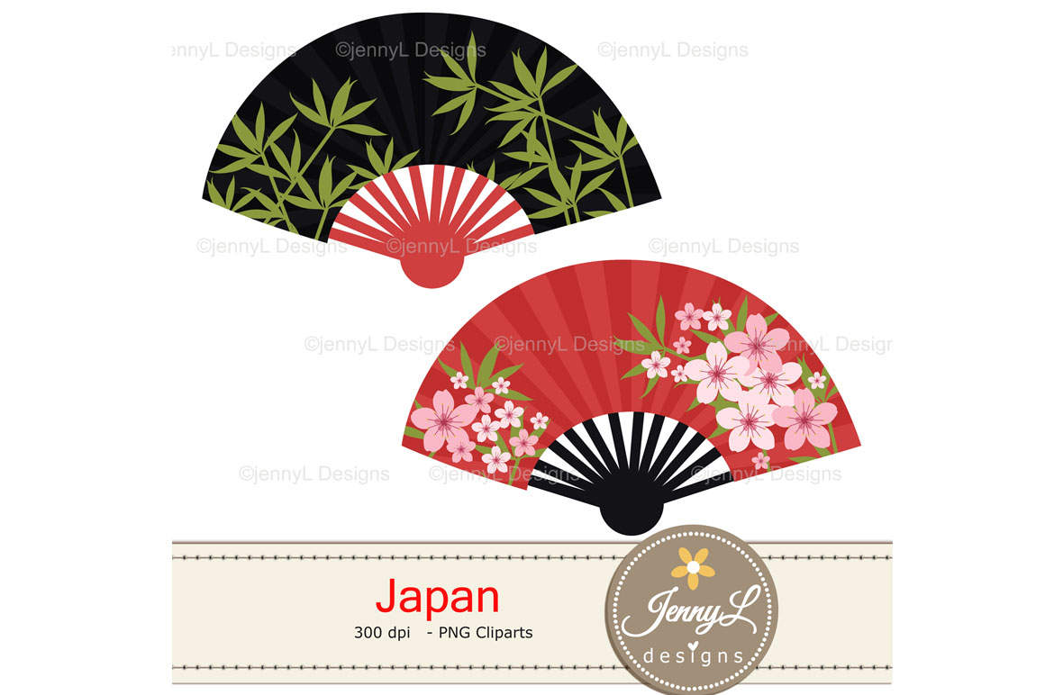 Japan Digital Papers and Japanese Clipart SET example image 6
