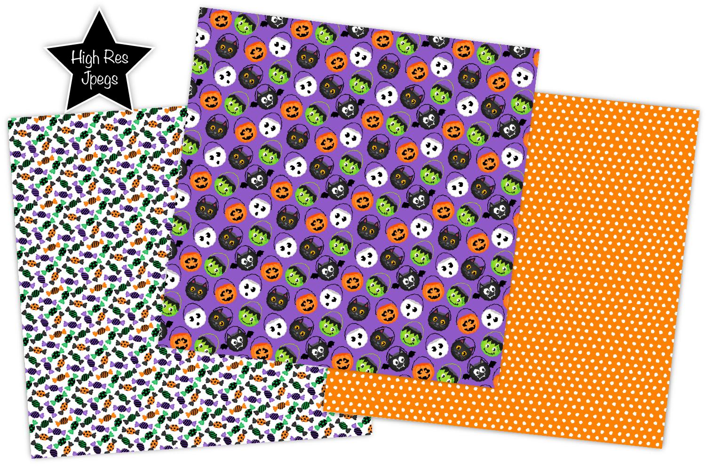 Halloween digital papers, Halloween patterns, scrapbooking example image 3