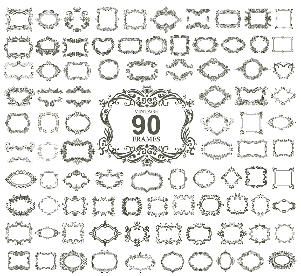 Set of vintage frames and monograms example image 11