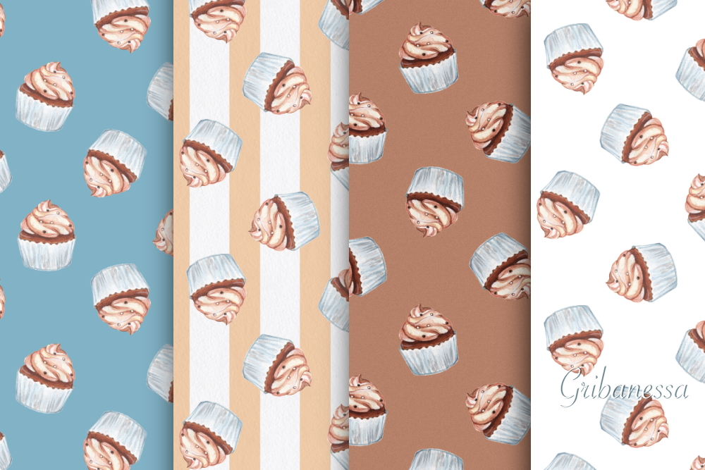 Cupcakes. 8 seamless patterns example image 1