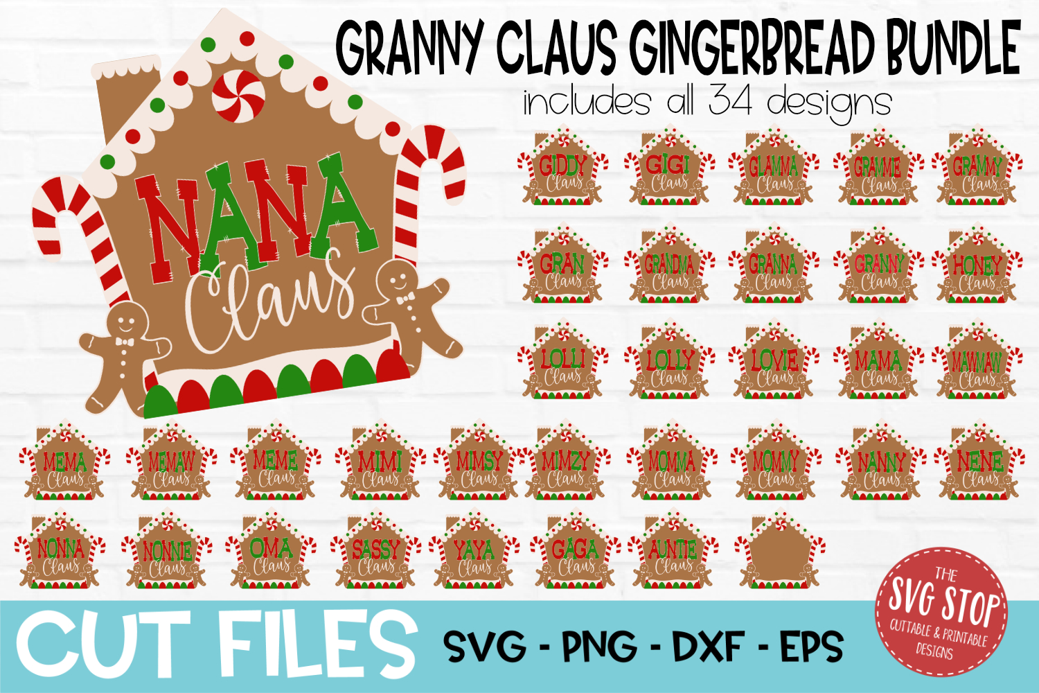 Gingerbread Granny Claus Bundle Christmas SVG, PNG, DXF, EPS example image 1