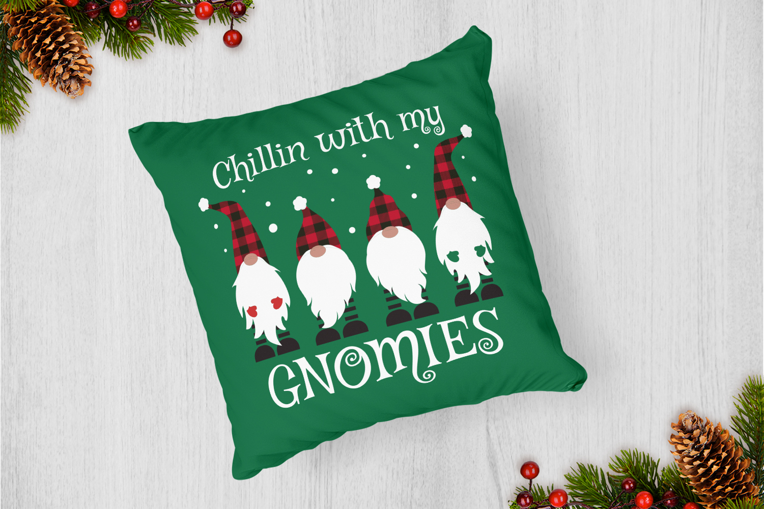 Chillin' With My Gnomies Buffalo Plaid Svg example image 4