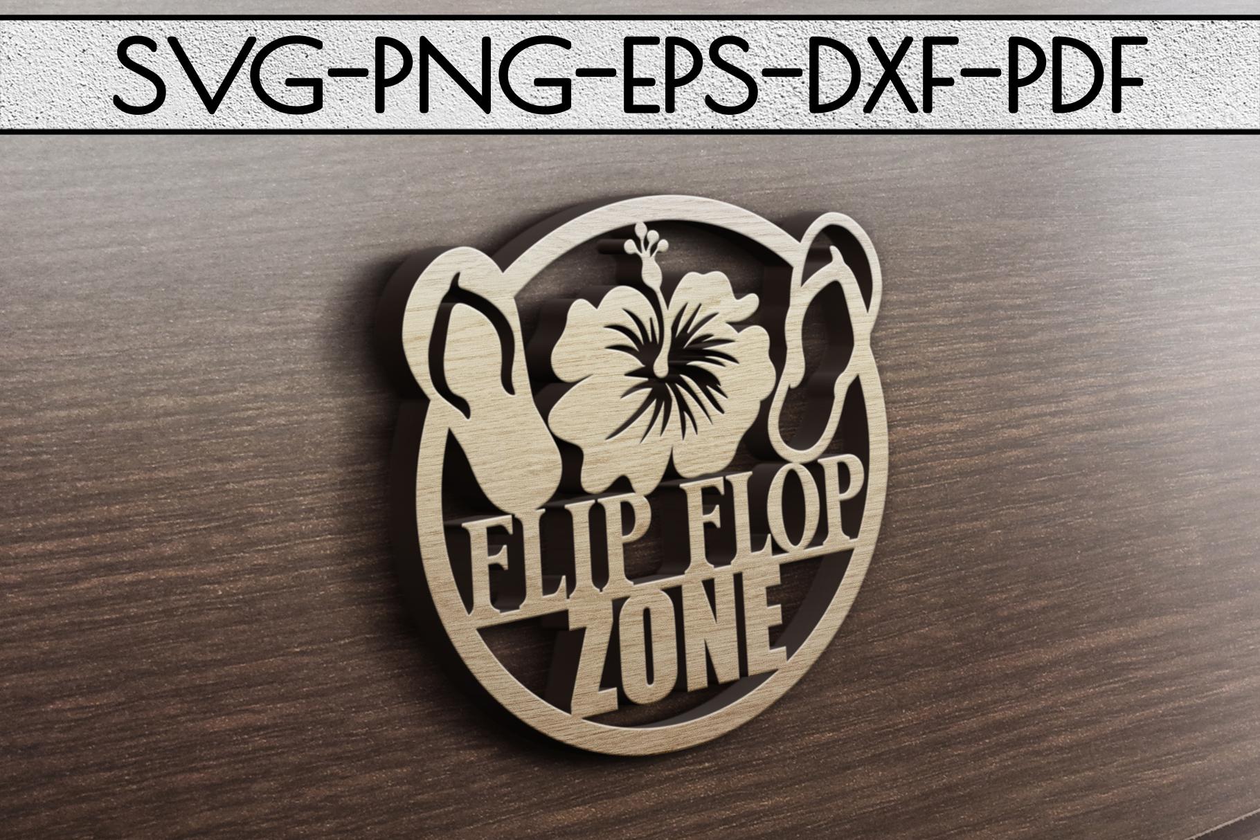 Flip Flop Zone Papercut Template, Beach House Decor SVG, DXF example image 3