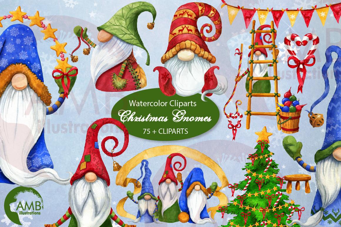 Christmas Gnomes, Scandinavian Gnomes, Watercolour Gnomes, example image 2