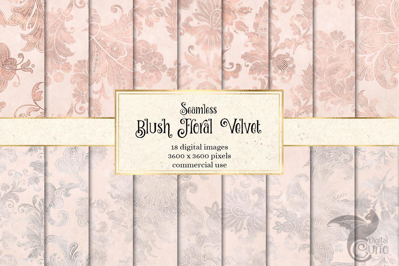 Blush Floral Velvet Digital Paper example image 1