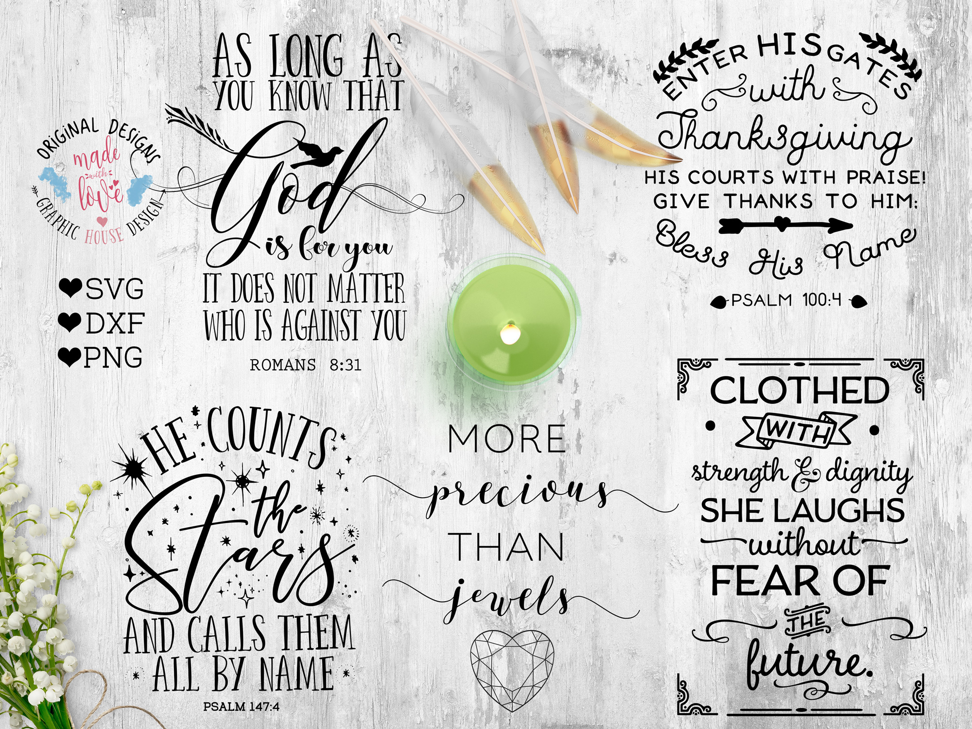 Bible Verse & Scripture Bundle Cutting Files SVG, DXF, PNG example image 2