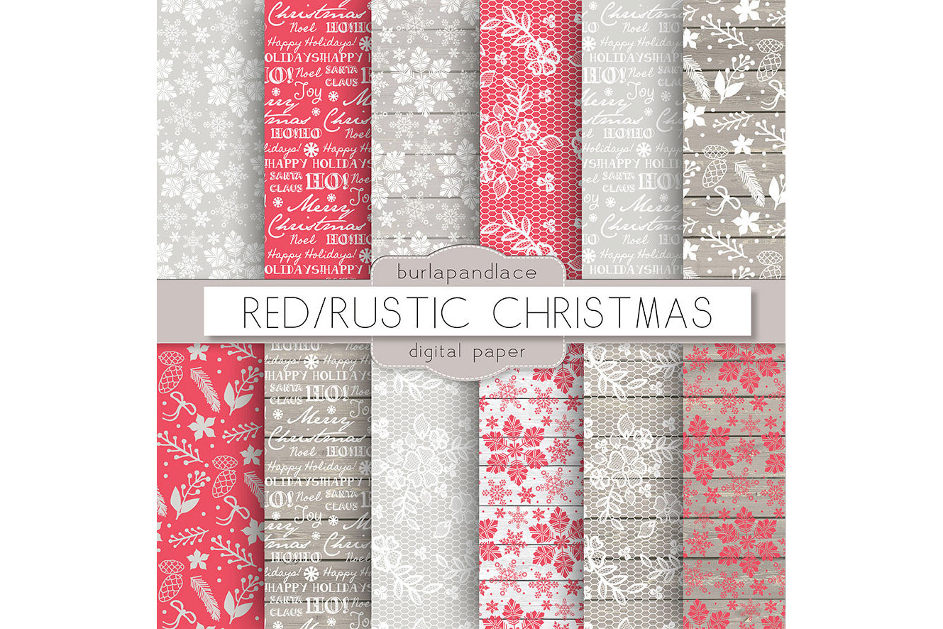 Red snowflakes christmas digital paper example image 2
