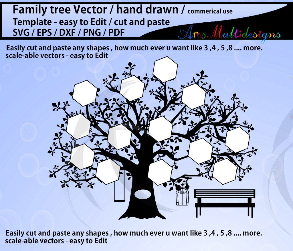 family tree clipart SVG template, EPS, Dxf, Png, Pdf, Jpg /family tree silhouette /hand drawn tree svg vector / Commerical & personal use example image 2
