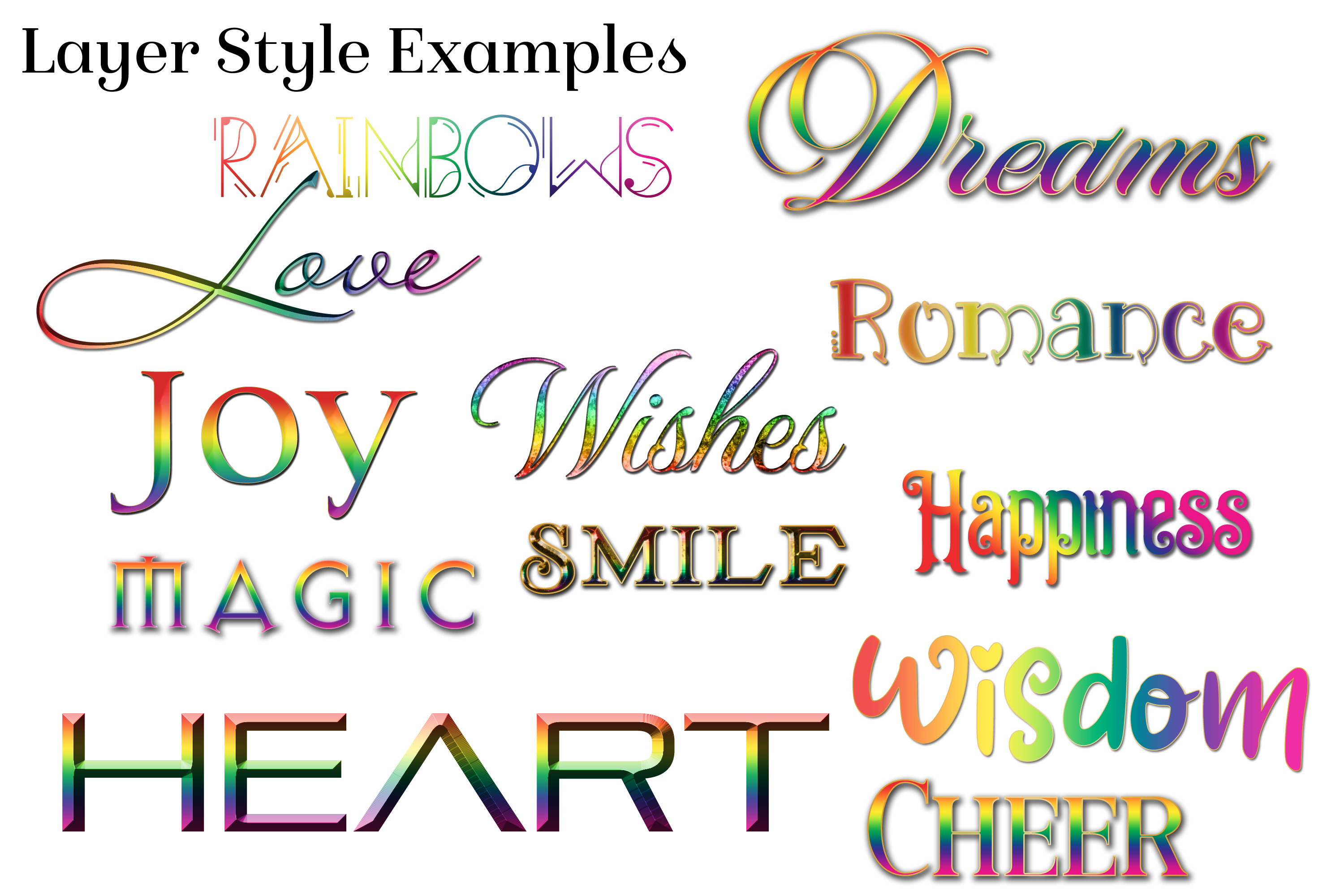 Rainbow Layer Styles - Set of 30 Styles for Photoshop example image 3
