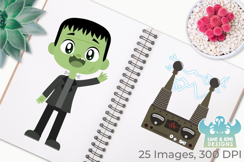 Frankenstein Monsters Clipart, Instant Download Vector Art example image 3