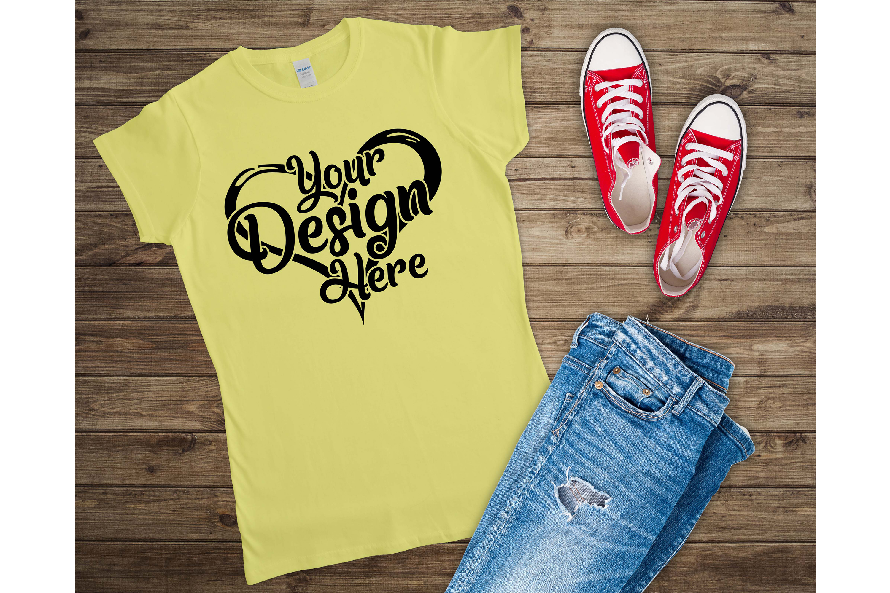 Gildan 64000L Ladies T-Shirt Mockup Bundle Flat Lay example image 4