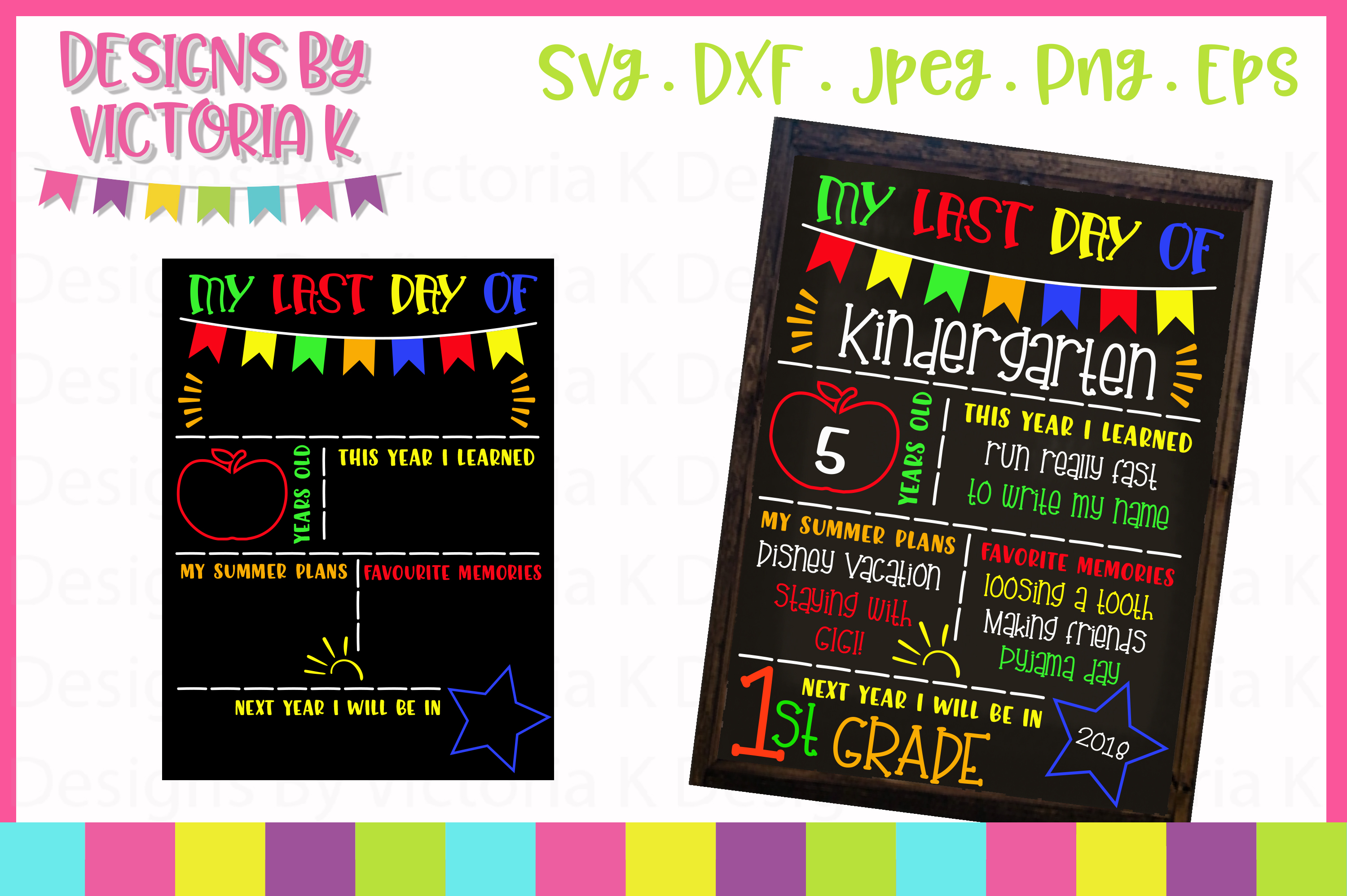 Last day of school board, chalkboard style, SVG, DXF, EPS example image 1