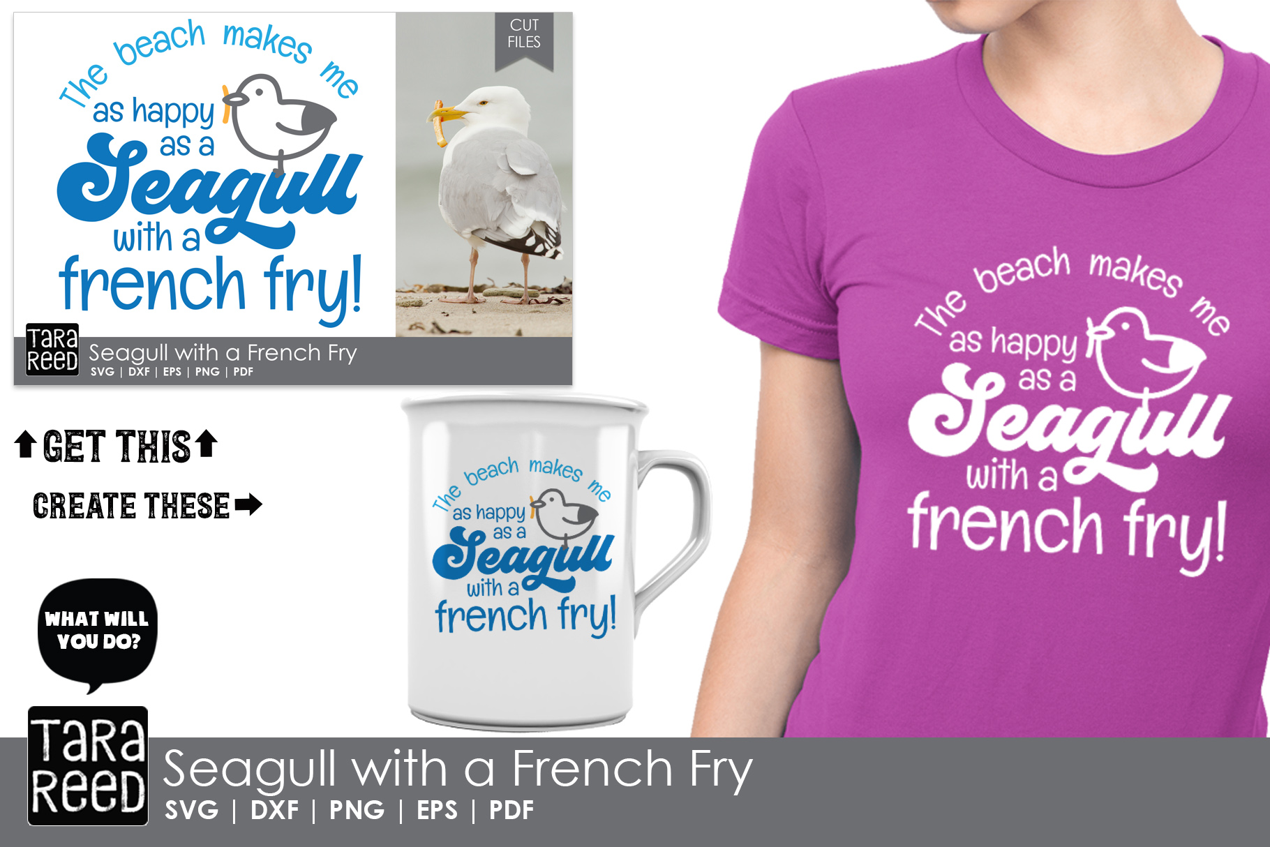 Seagull with a French Fry - Beach SVG and Cut Files example image 2