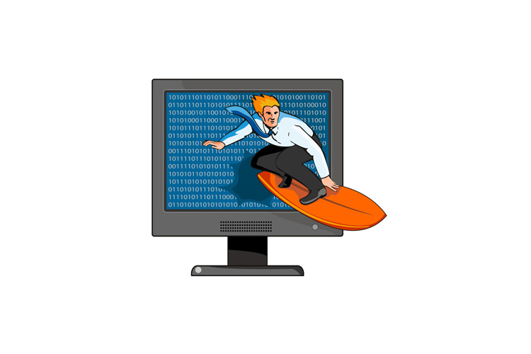 business suit businessman surfing with computer monitor