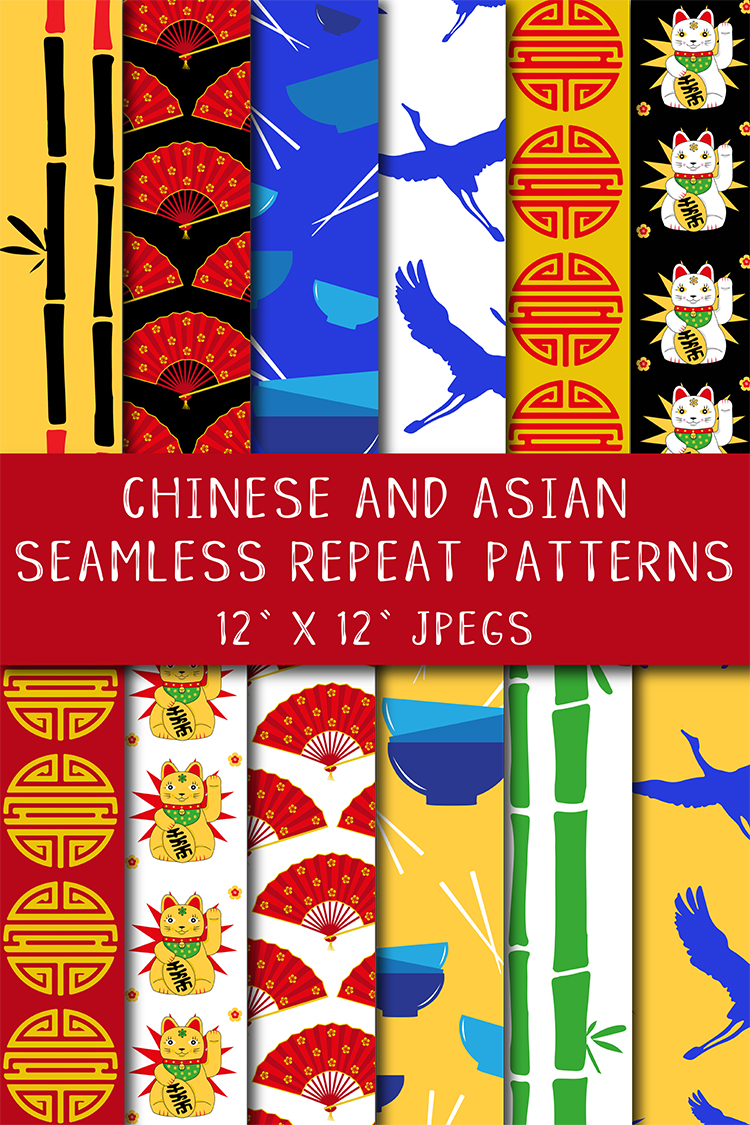 12 Chinese Asian Seamless Repeat Pattern Digital Papers example image 5
