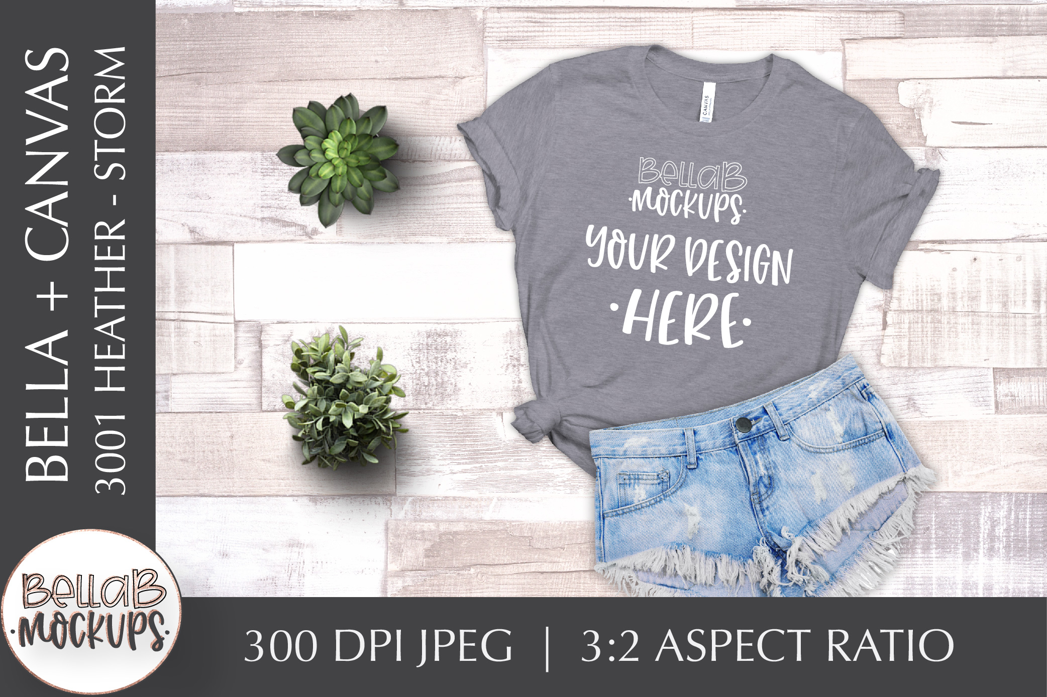 Bella Canvas 3001 Heather Woman's T Shirt Mockup, Storm example image 1