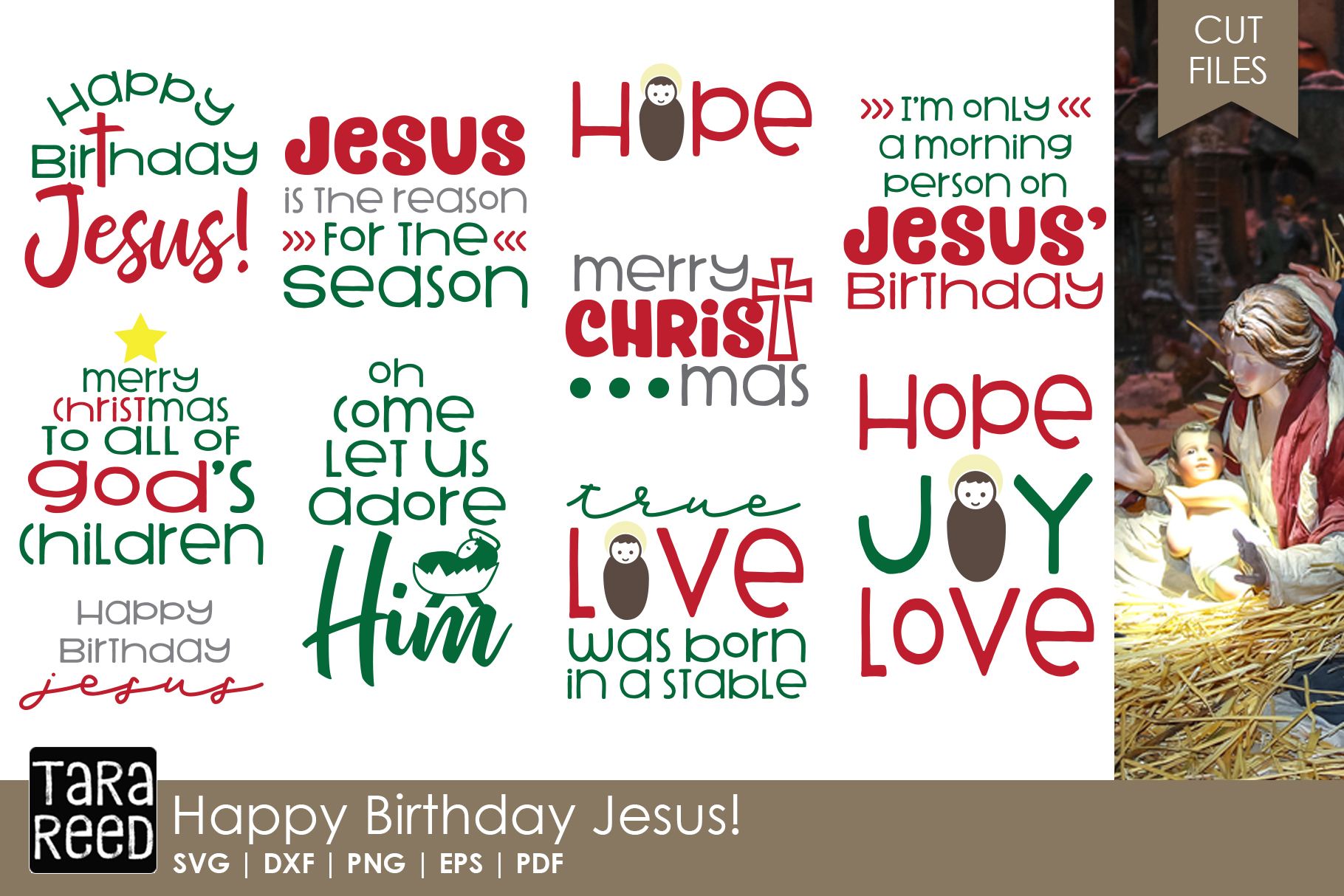 Christian Christmas MEGA Bundle - SVG Files for Crafters example image 6