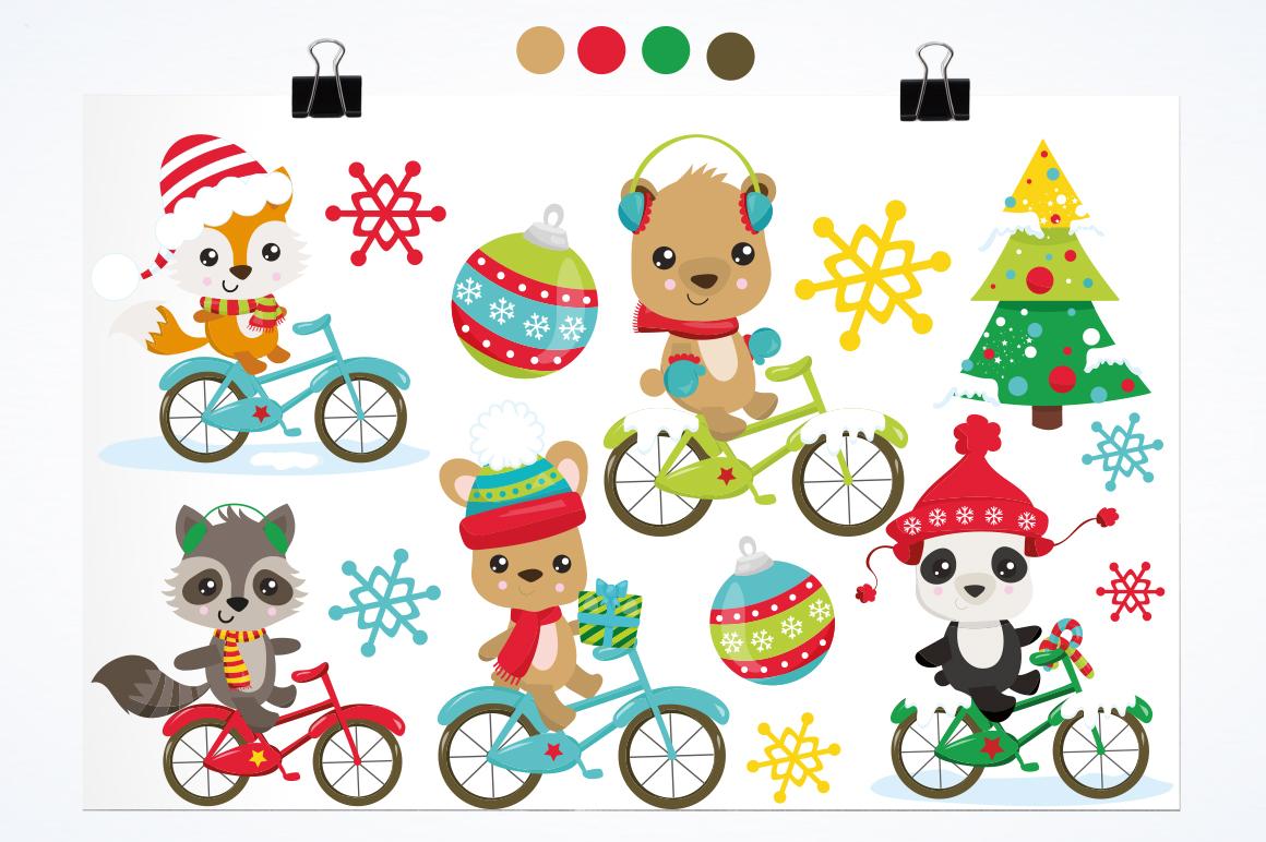 Christmas Woodland bikes graphics and illustrations example image 2