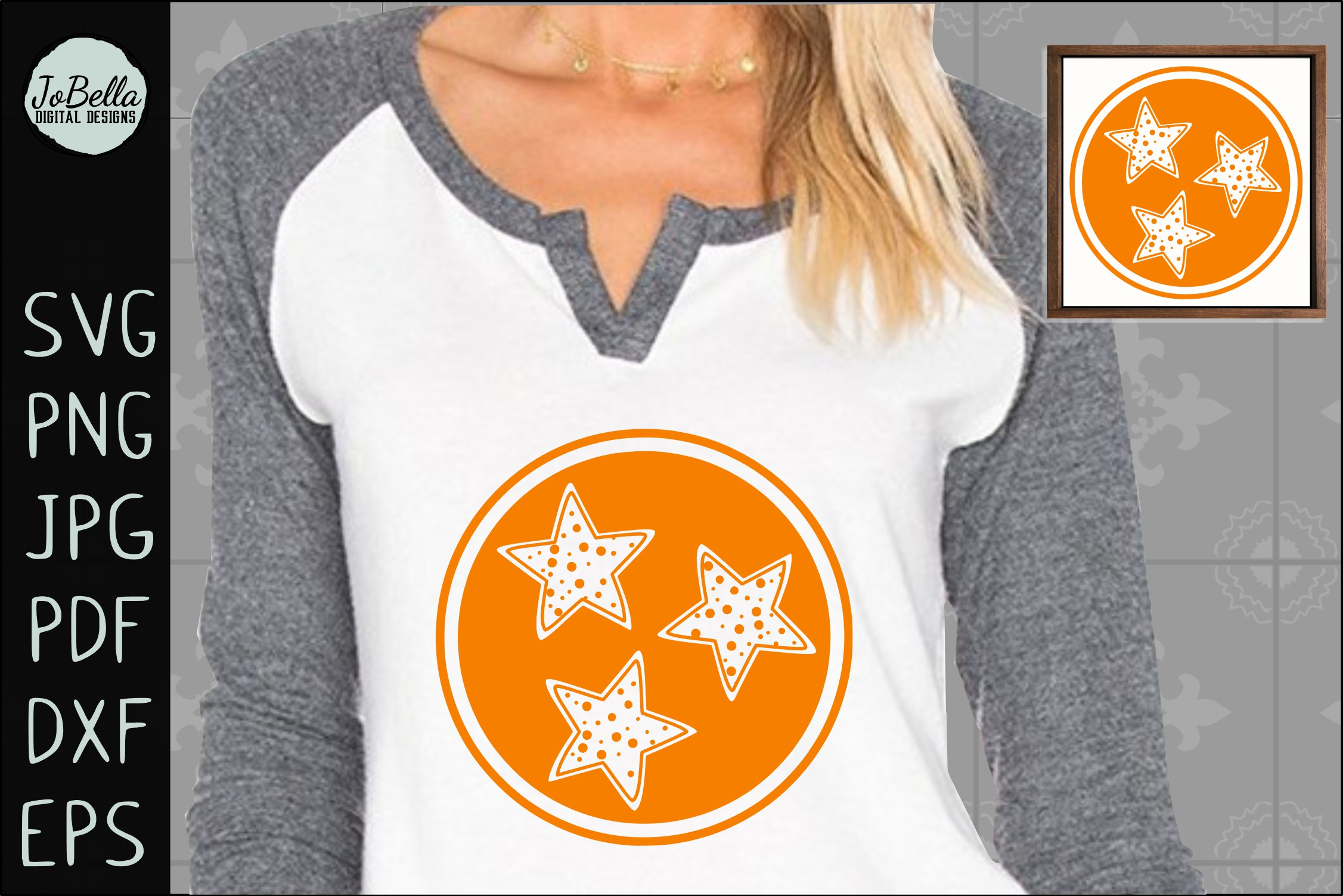 Polka Dot Tennessee TriStar SVG, Sublimation PNG & Printable example image 1