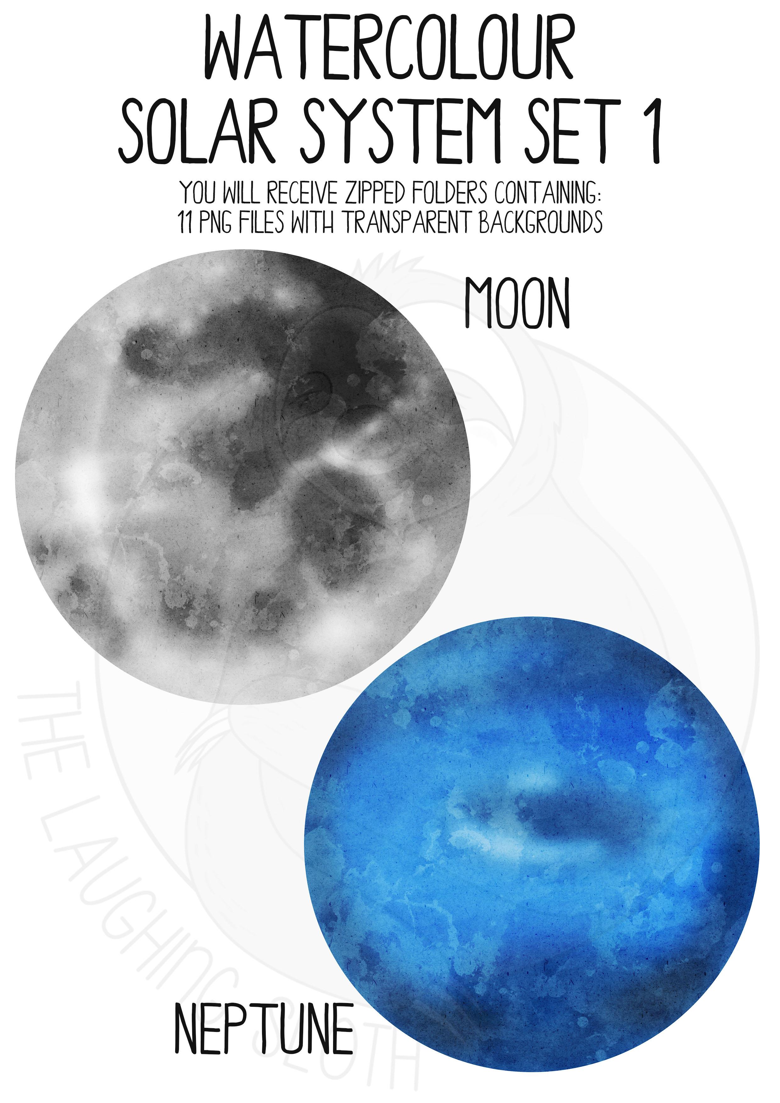 Watercolor Solar System Clip Art Set example image 4