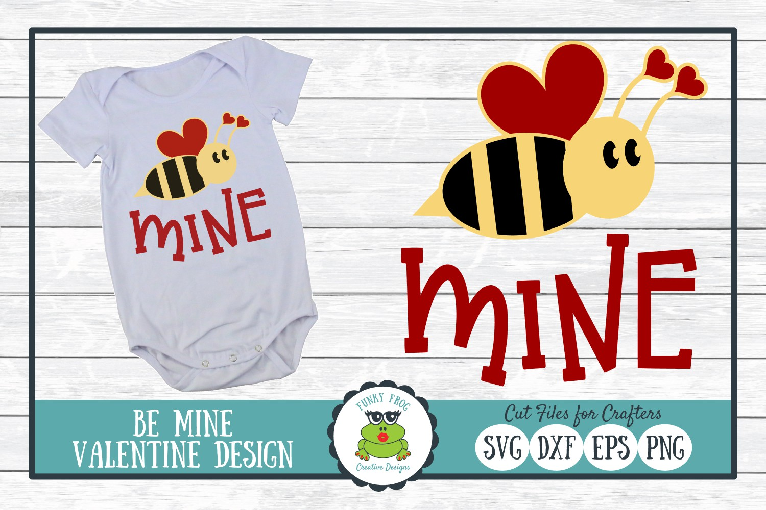 Bee Mine Valentine SVG Cut File for Crafters example image 1