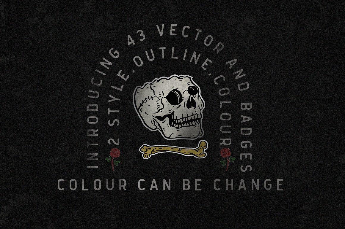 Nuvanticia Typeface + free bonus 43 Vector Skull example image 8