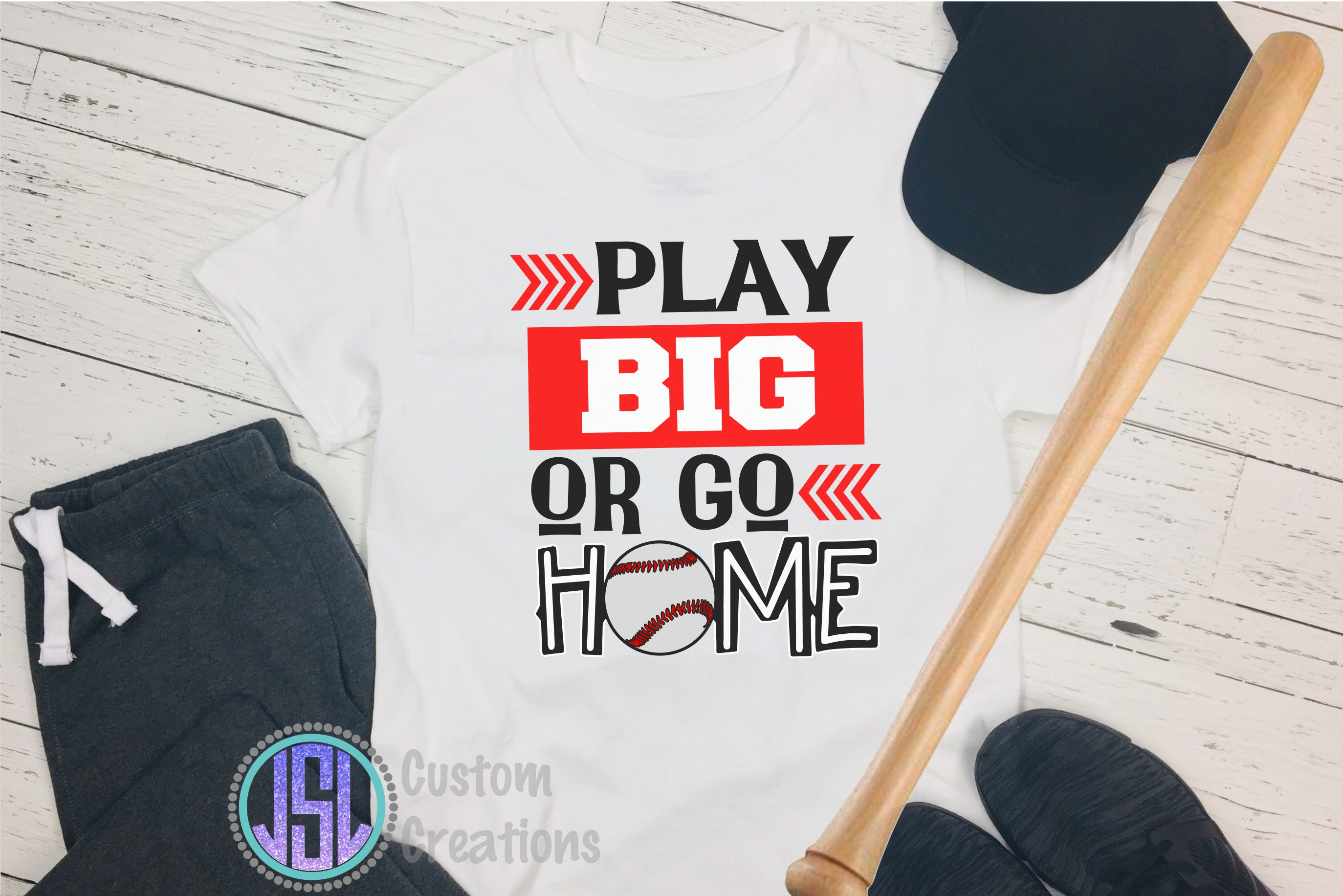 Play Big or Go Home | Baseball| SVG DXF EPS PNG Cut File example image 2