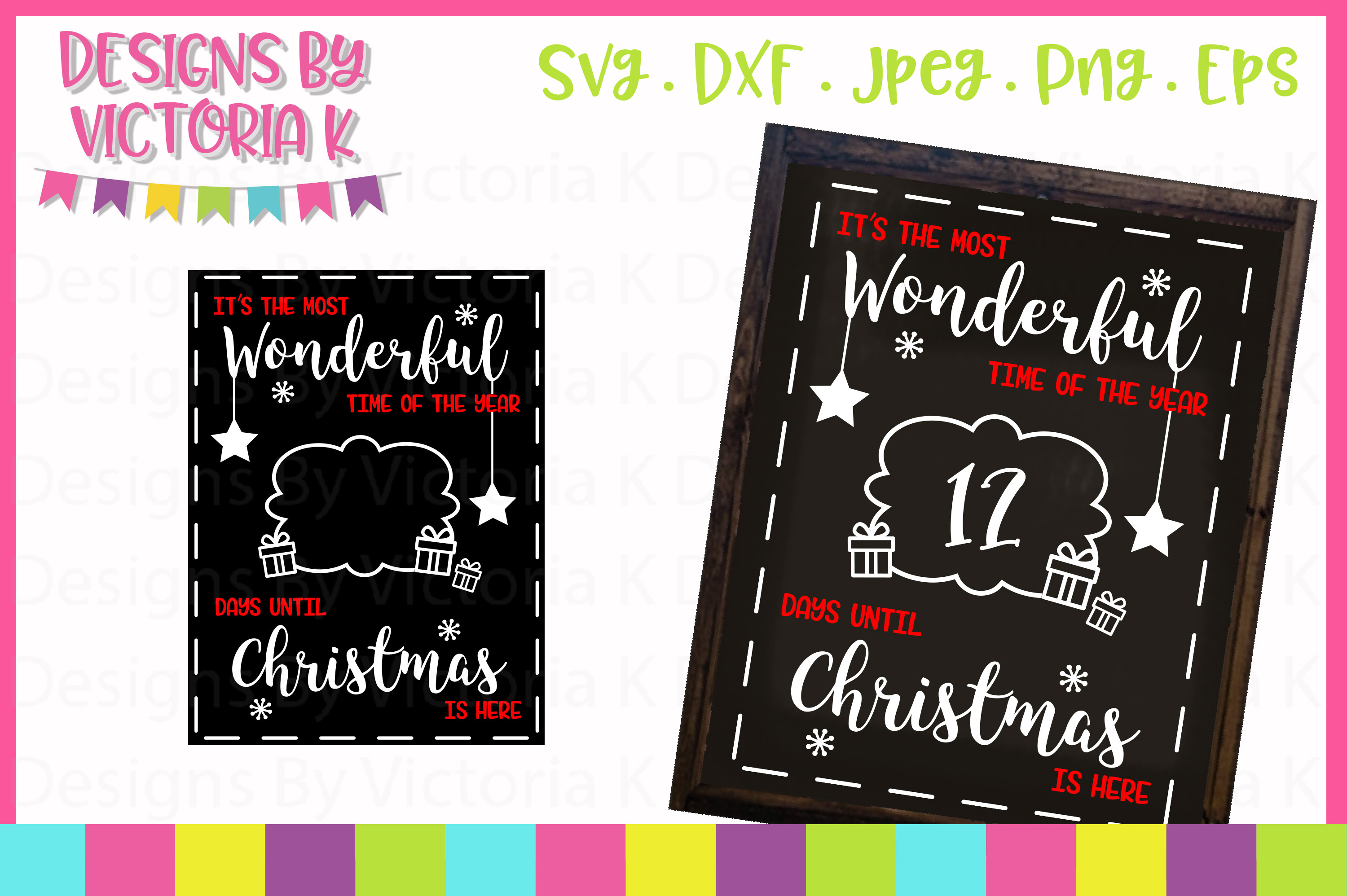 4 Christmas Countdown Chalkboard Designs, SVG, DXF, PNG example image 4